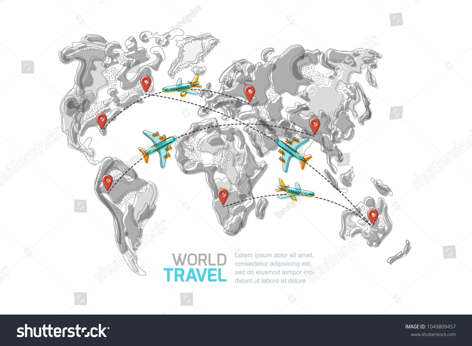 Vector abstract grayscale world map red stock vector 1049809457 vector abstract grayscale world map with red pins and blue flying airplanes top view illustration gumiabroncs Image collections