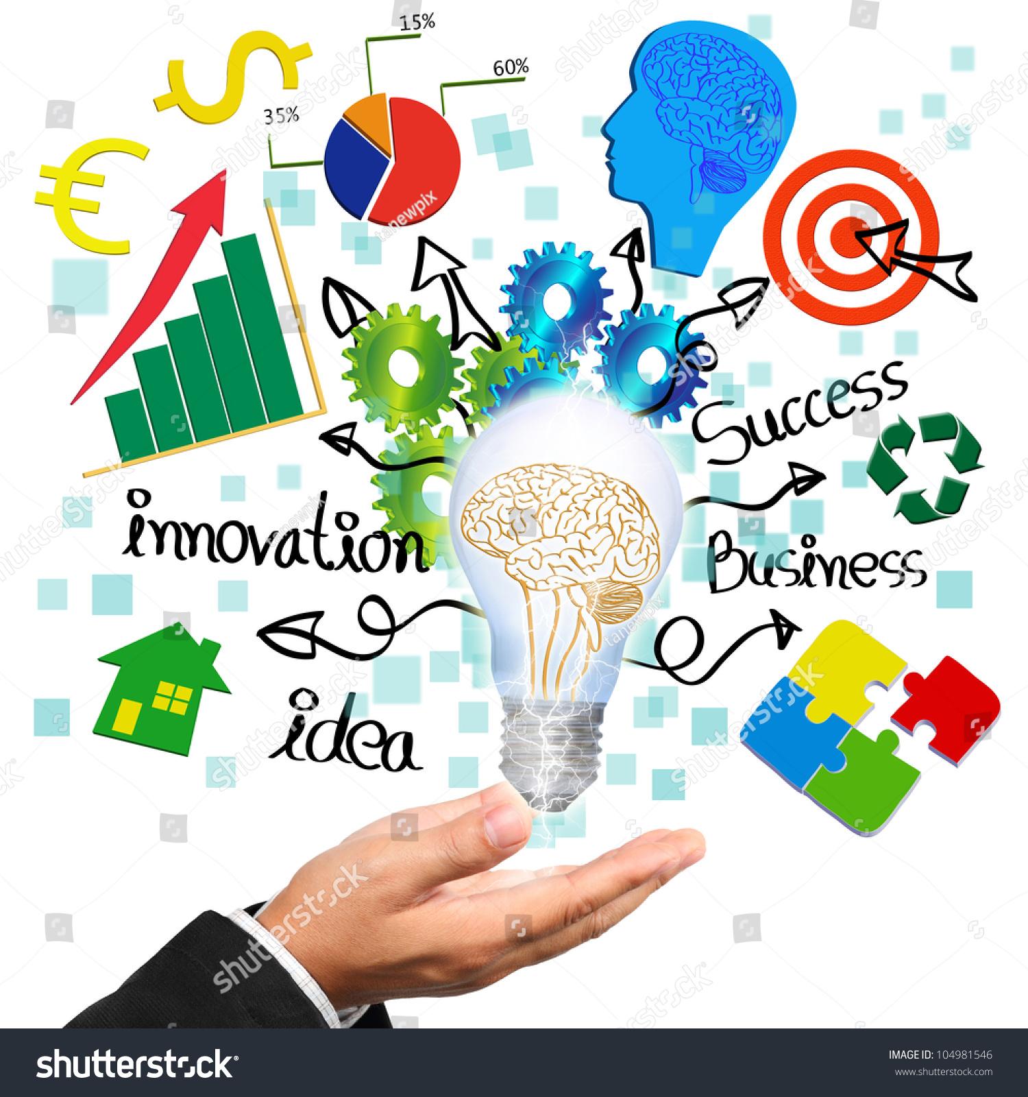 Technology Management Image: Businessman Hand Holding Light Bulb Brain Stock