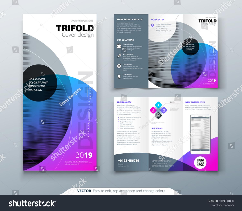 tri fold brochure design purple corporate stock vector royalty free