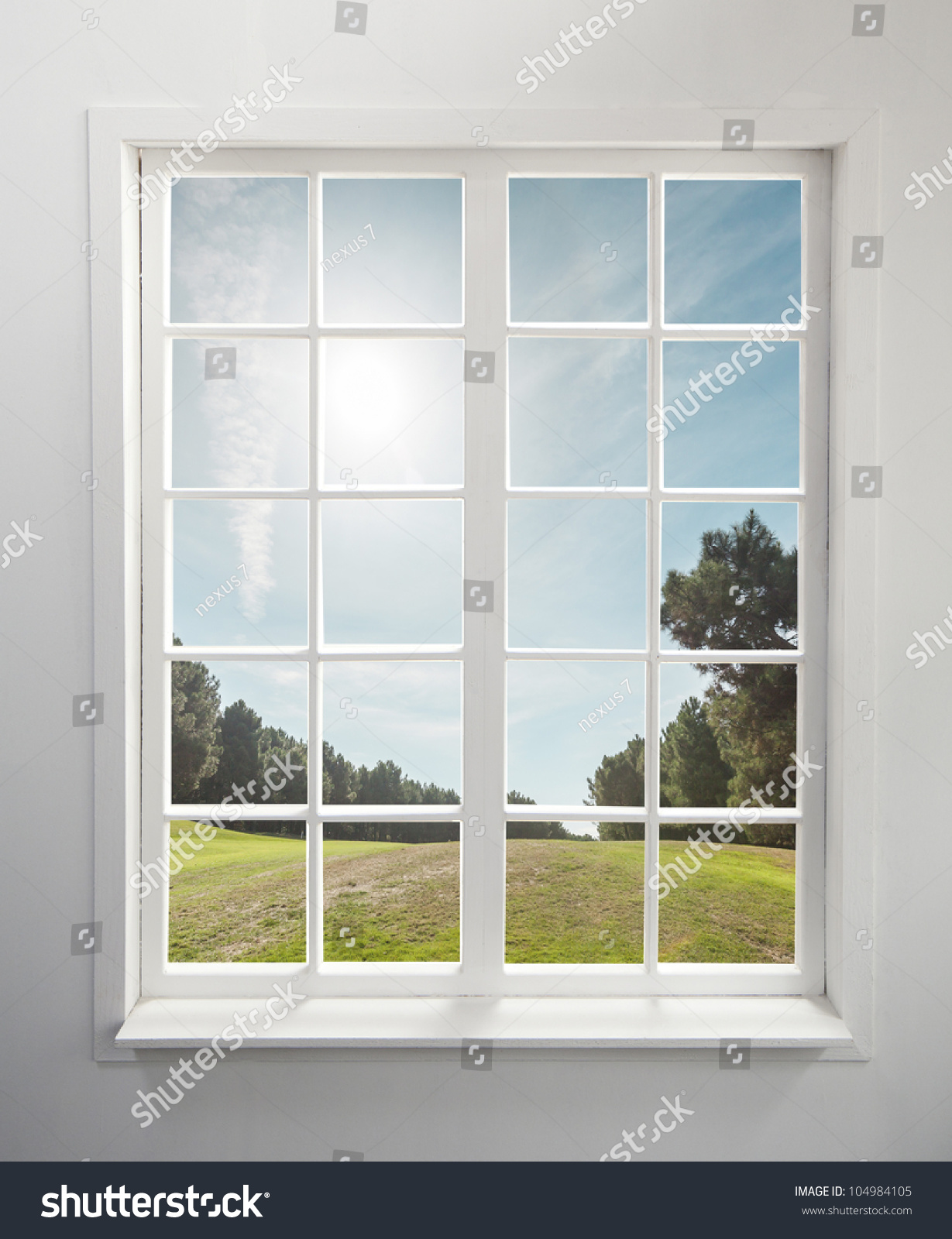 Modern residential window trees sky behind stock photo for Modern window design residential