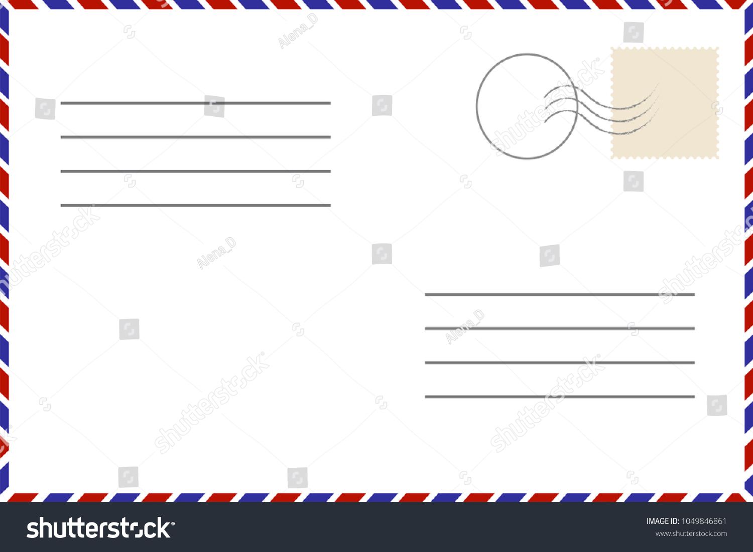 Old Template. Retro Airmail Envelope With Stamp. Vector