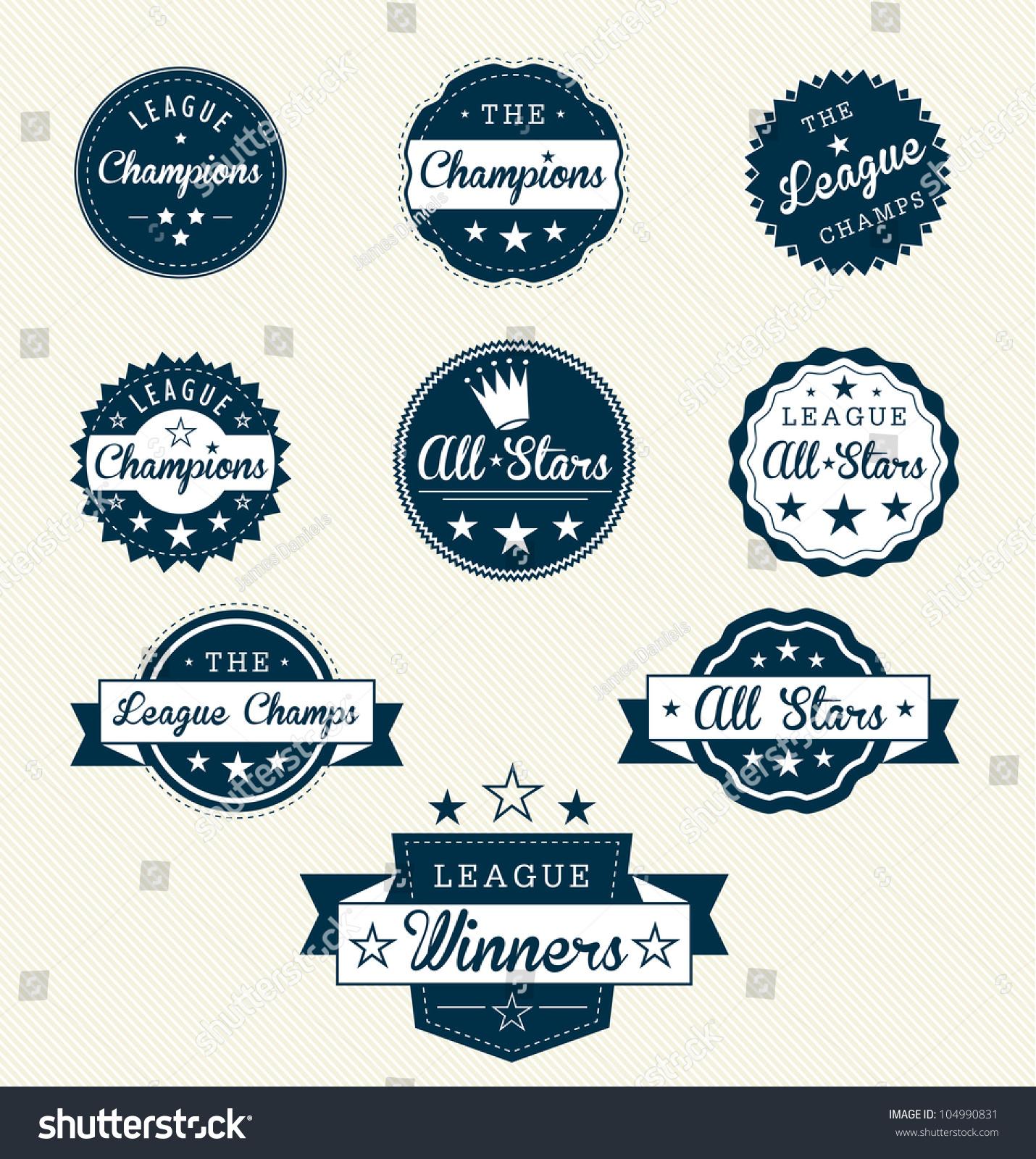 Champions League Vector: Sports Vector Set Vintage Sports Labels Stock Vector