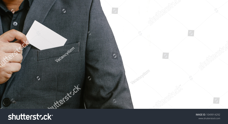 Man Holding White Business Card Man Wearing Stock Photo (Royalty ...