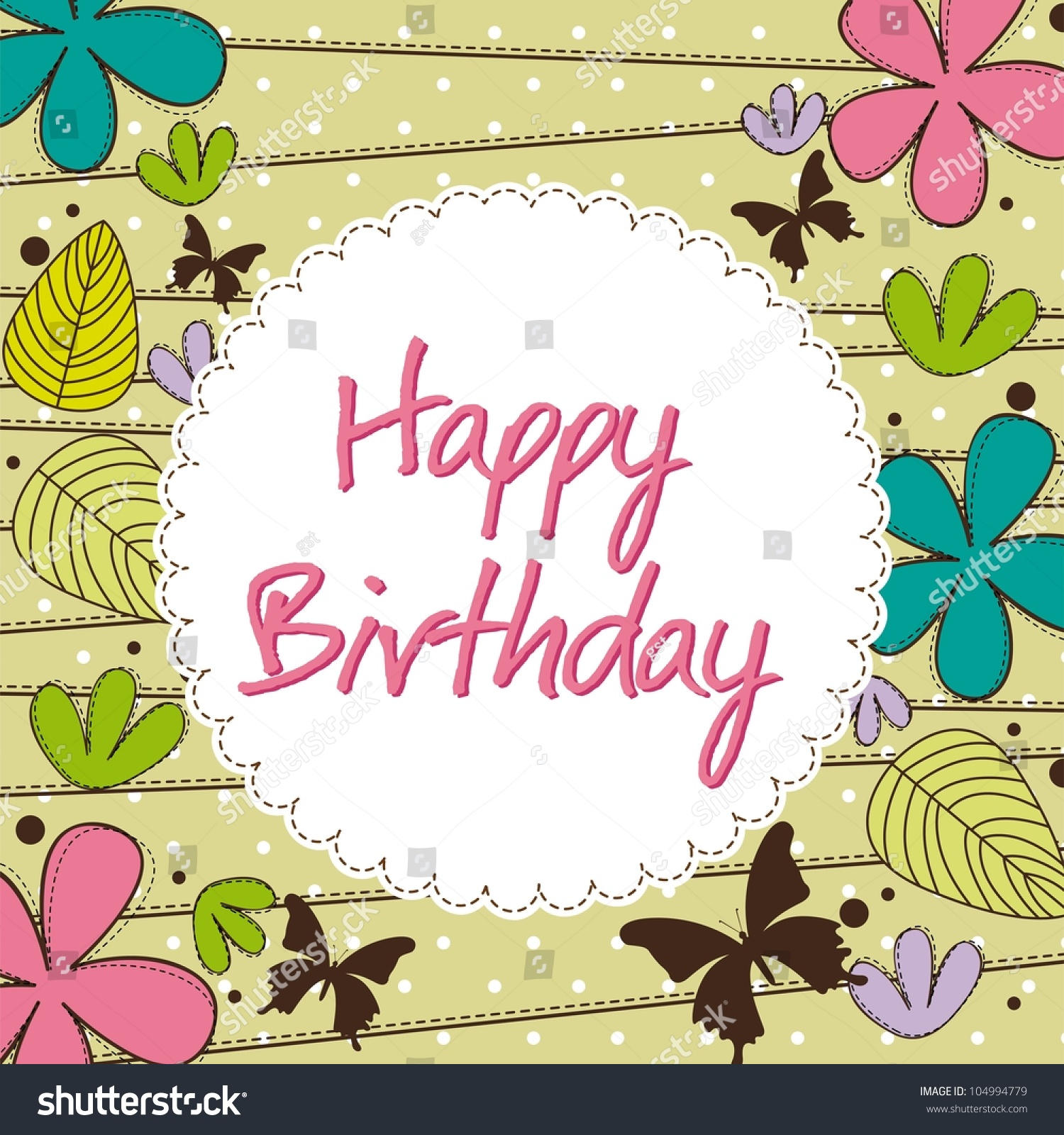 Cute Happy Birthday Card Flower Vector Stock Vector Royalty Free