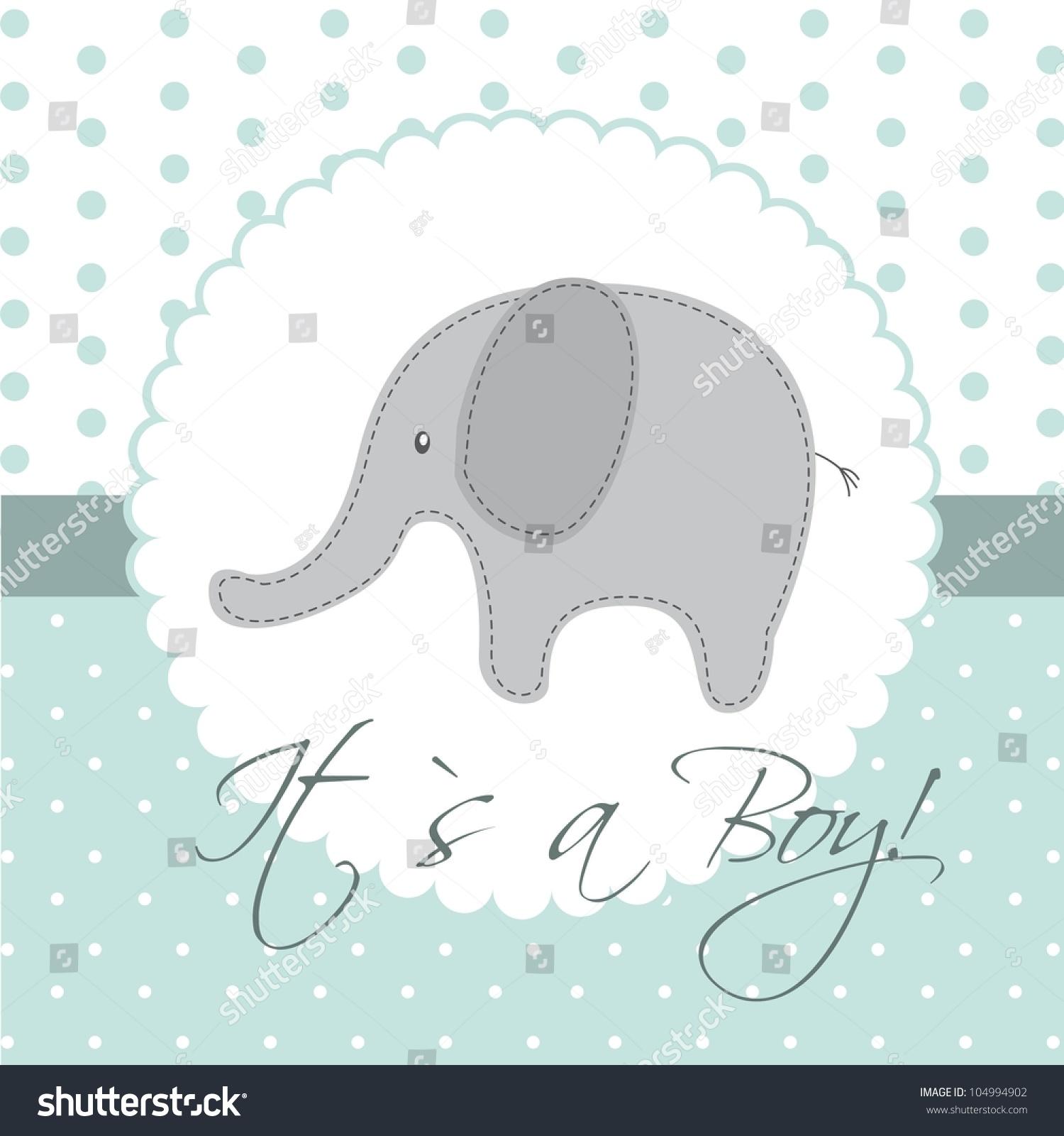 Vector Elephant Baby Shower ~ Baby shower card cute elephant vector stock