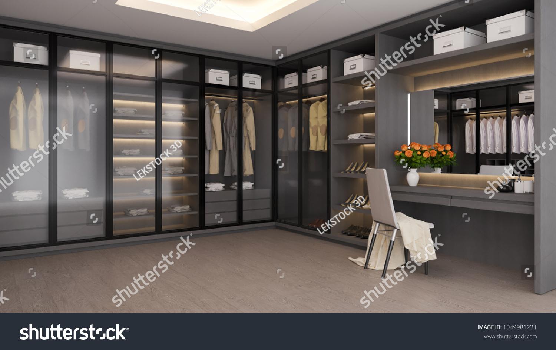 Modern Luxury Dressing Room Interior Walk Interiors Stock