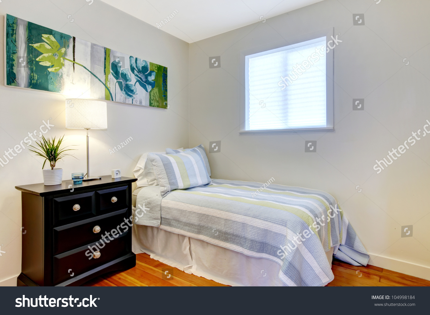 Simple Bedroom Black Nightstand Small Bed Stock Photo Edit Now 104998184