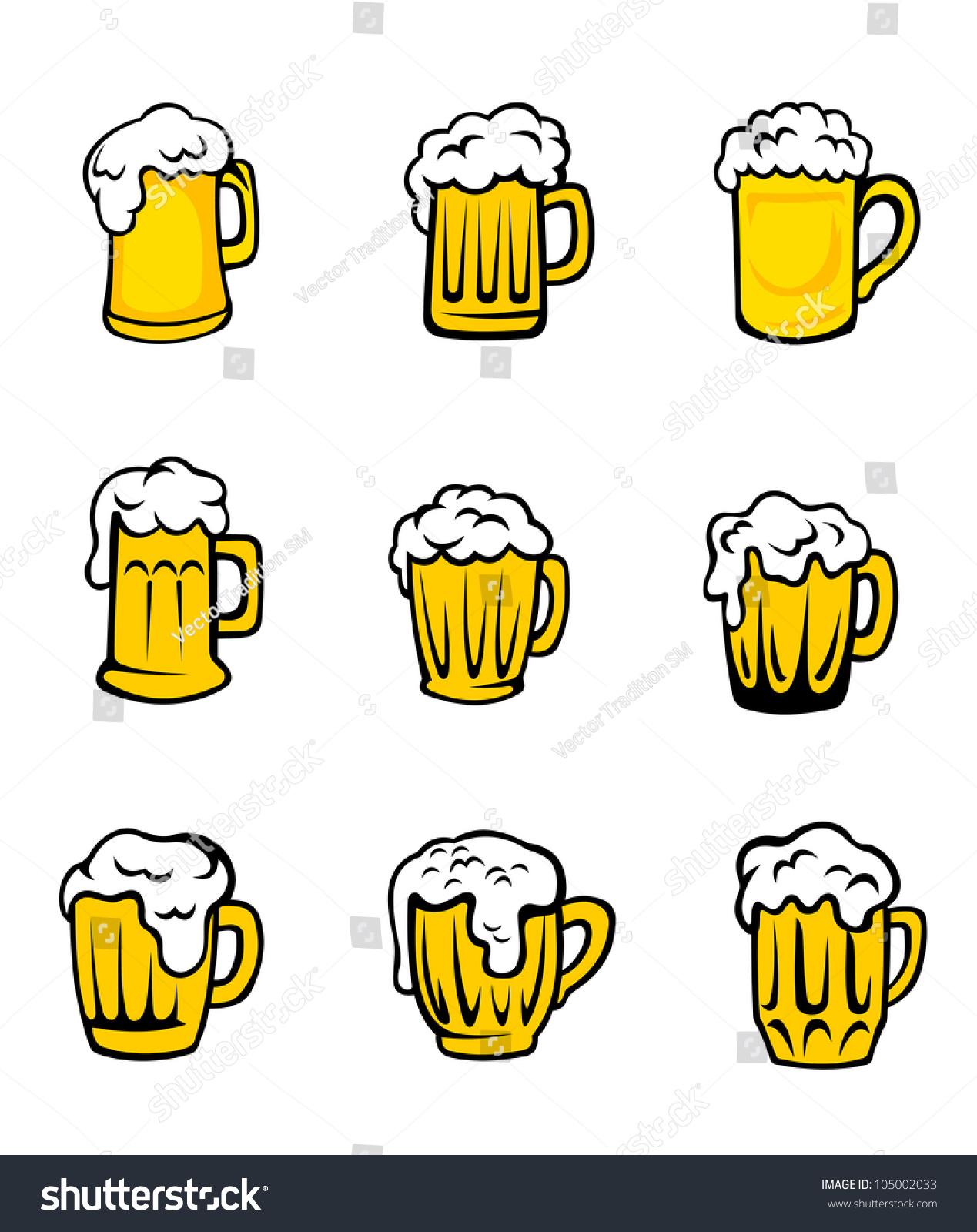 Set Beer Glasses Fresh Foam Pub Stock Vector Royalty Free 105002033