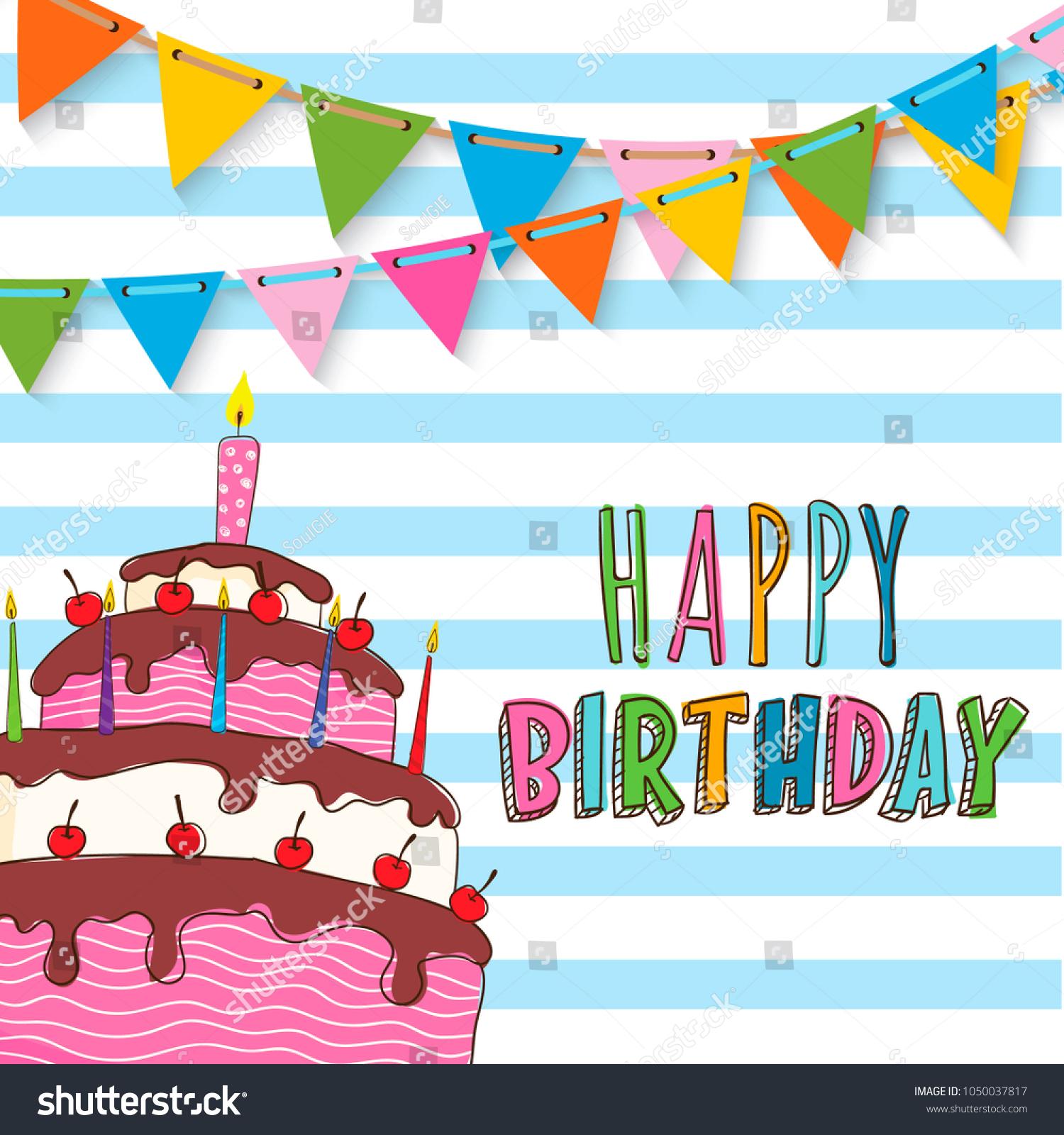 Happy Birthday Invitation Card Design Stock Vector 1050037817 ...