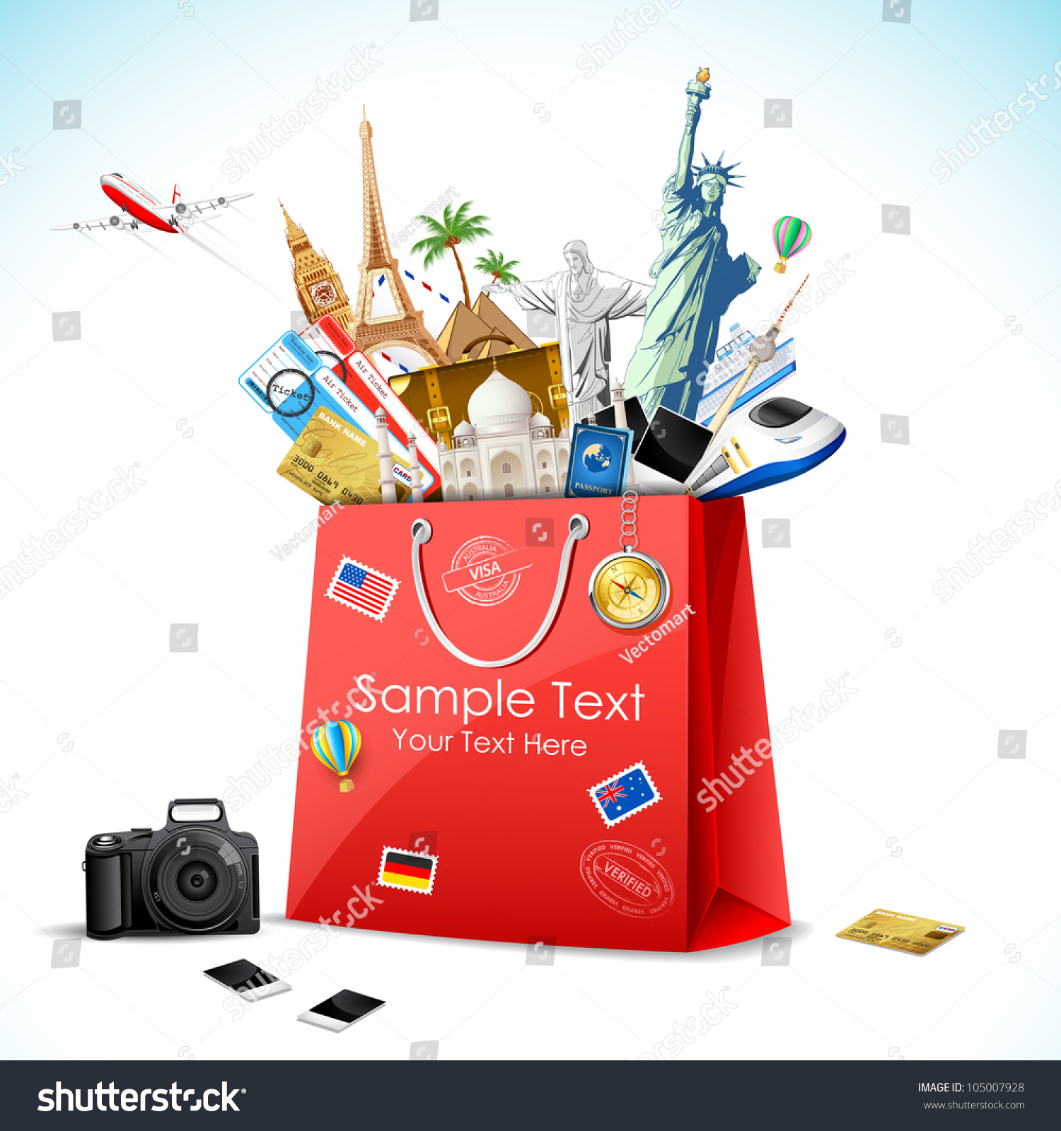 Illustration Shopping Bag Full Famous Monument Stock Vector ...