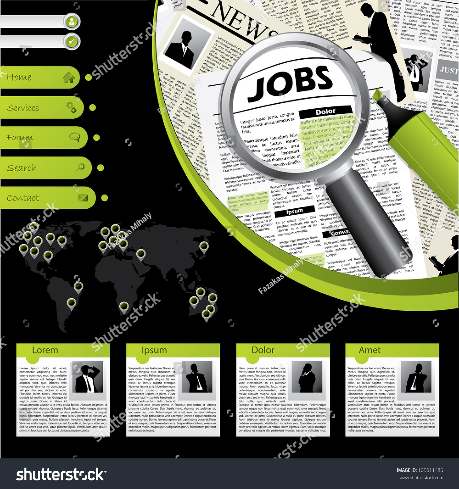 job searching website template subscription possibility stock vector 105011486 shutterstock. Black Bedroom Furniture Sets. Home Design Ideas