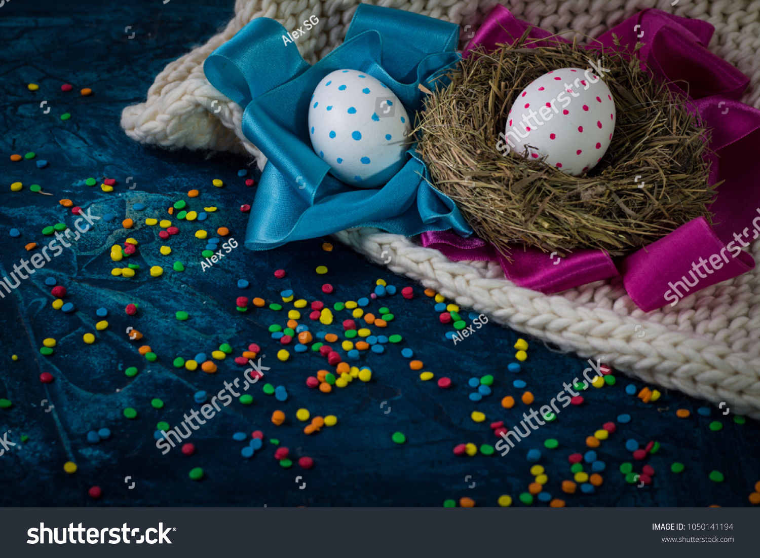 Easter Eggs Nest Pink Blue Ribbon Stock Photo (Royalty Free ...
