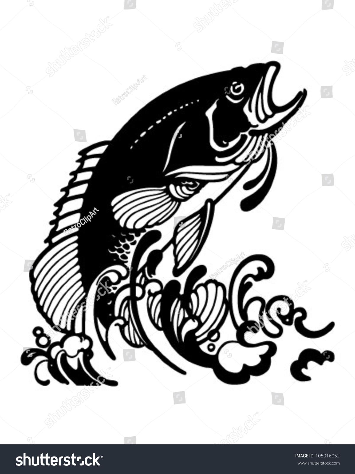 Stylized Jumping Fish Retro Clipart Illustration Stock Vector