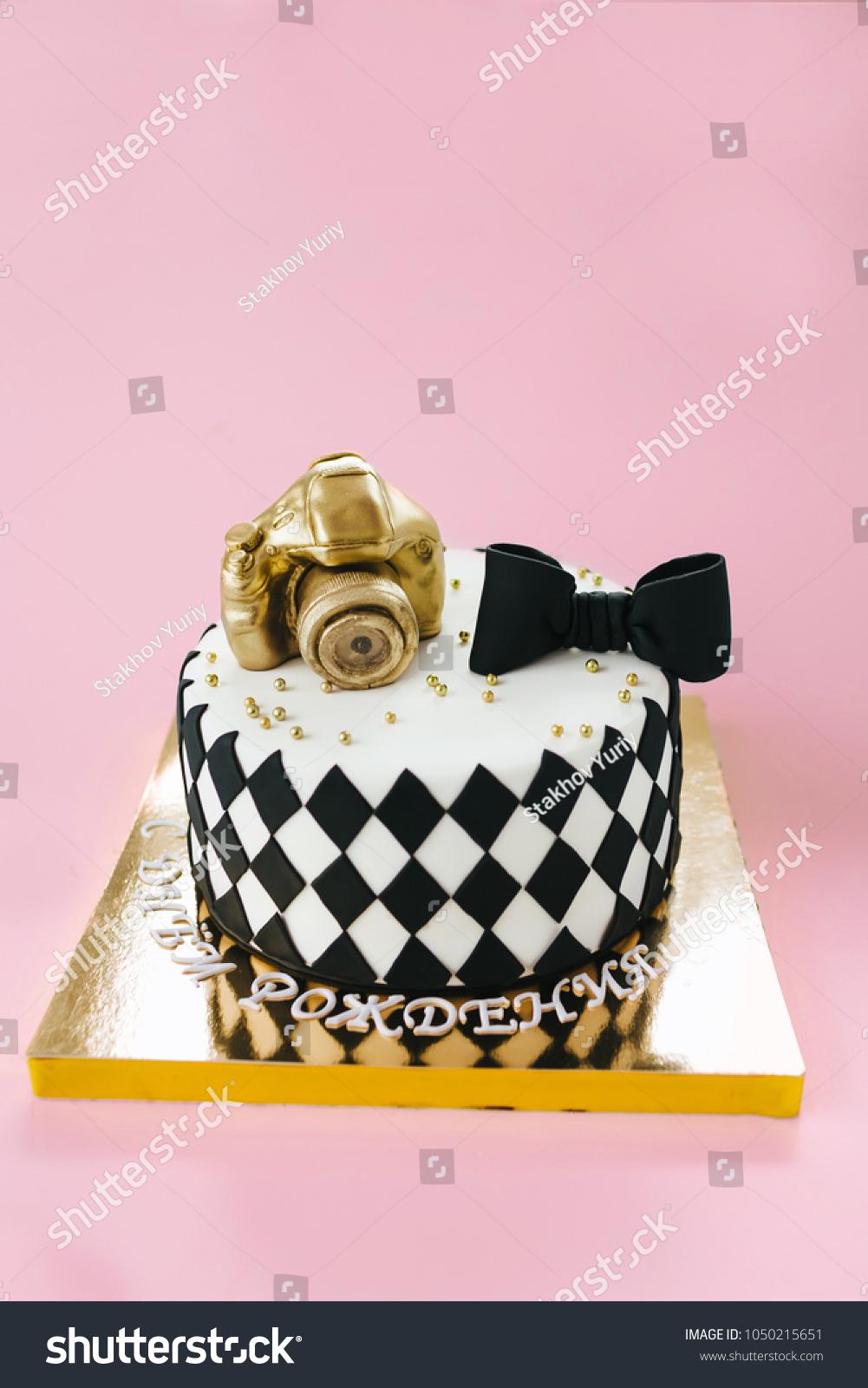 Black White Birthday Cake Photographer On Stock Photo Edit Now