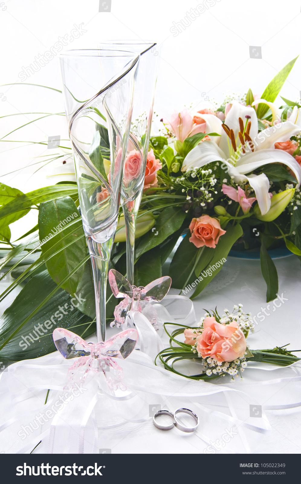 White Table Wedding Decoration Flower Bouquet Stock Photo Edit Now