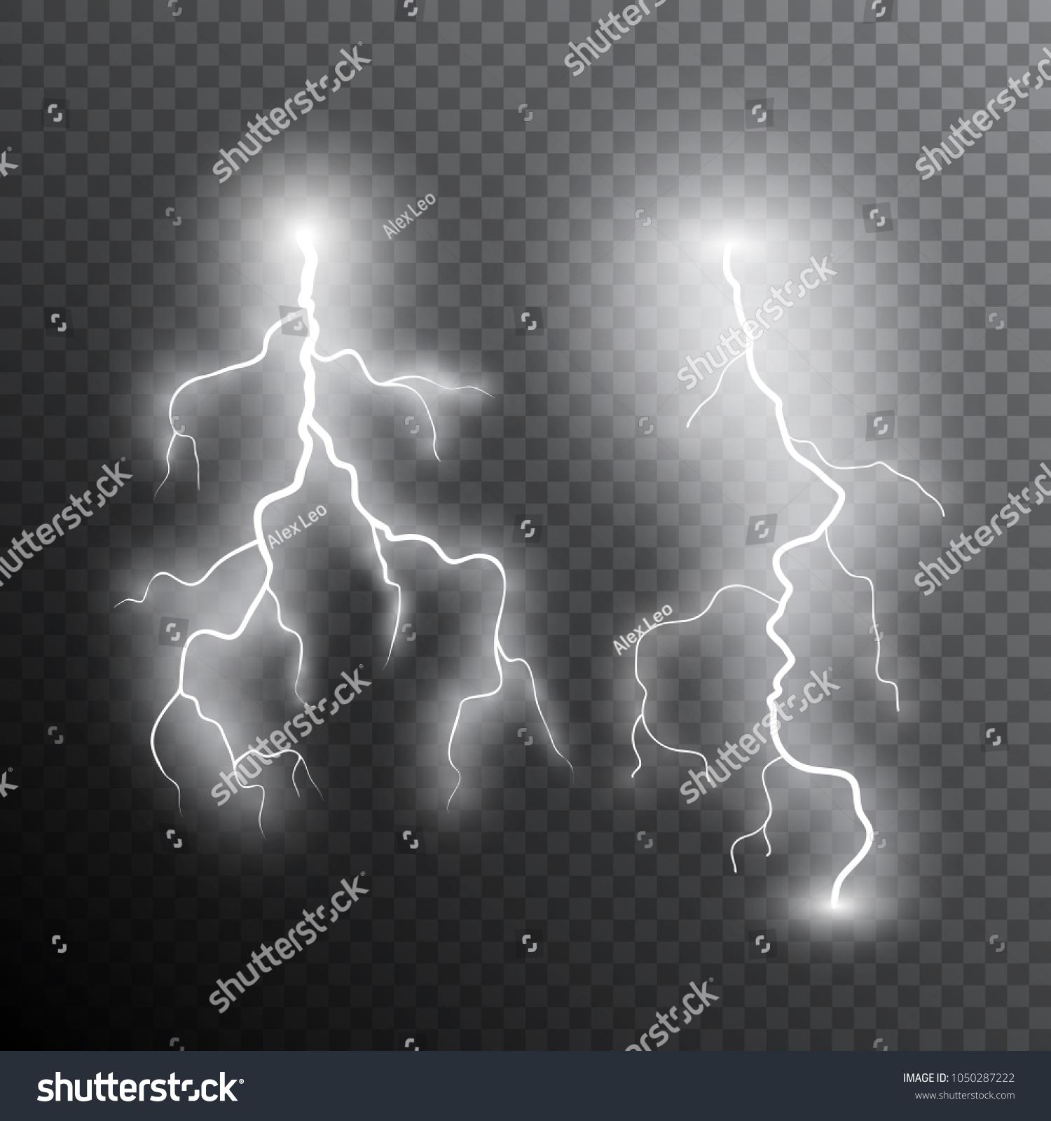 Realistic Lightning Bolts Transparent Light Vector Stock Vector Royalty Free 1050287222