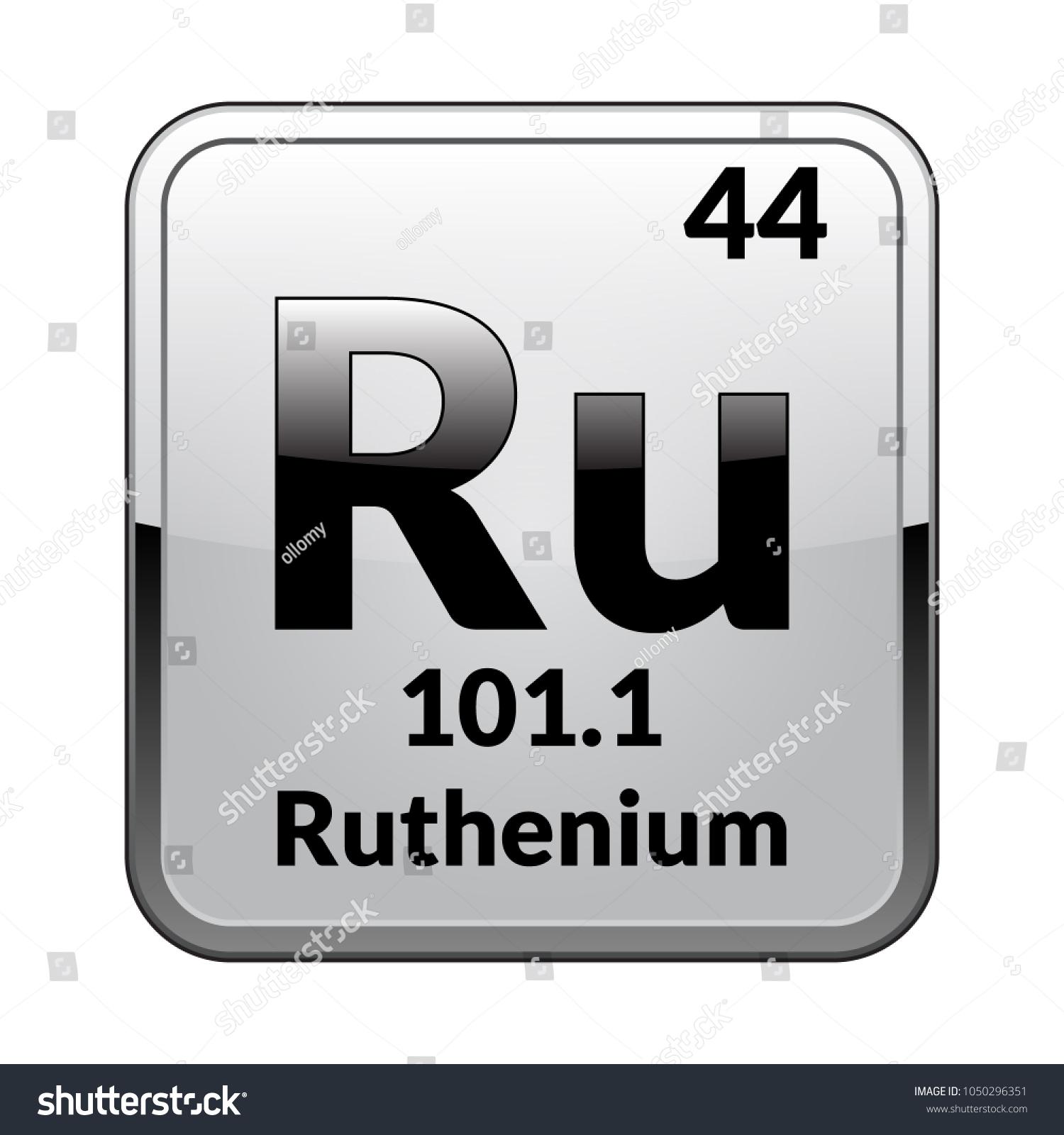 Ruthenium Symbol Chemical Element Periodic Table On Stock Vector