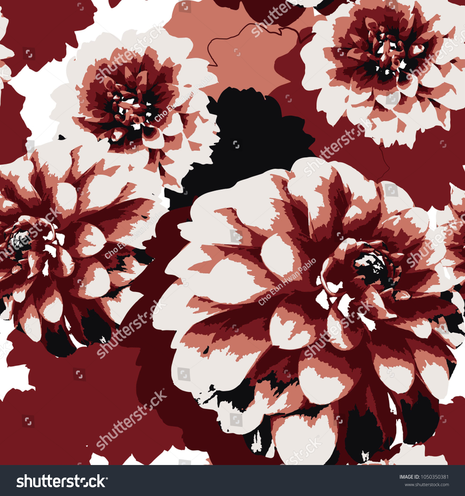 Coloring Dahlia Flower Pattern Texture Stock Vector 1050350381 ...