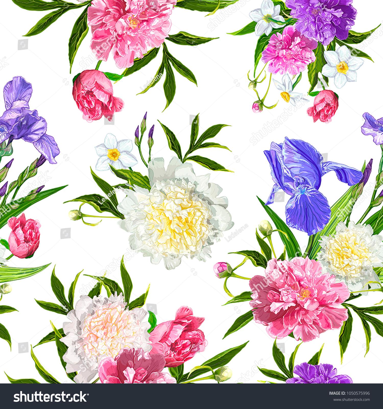 Seamless Pattern Peonies Iris Narcissus Flowers Stock Vector