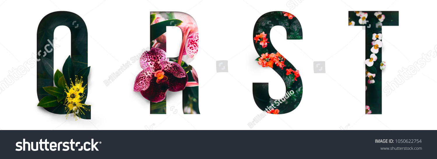 Flower font Alphabet q, r, s, t, made of Real alive flowers with Precious paper cut shape of letter. Collection of brilliant flora font for your unique decoration in spring, summer & many concept idea #1050622754