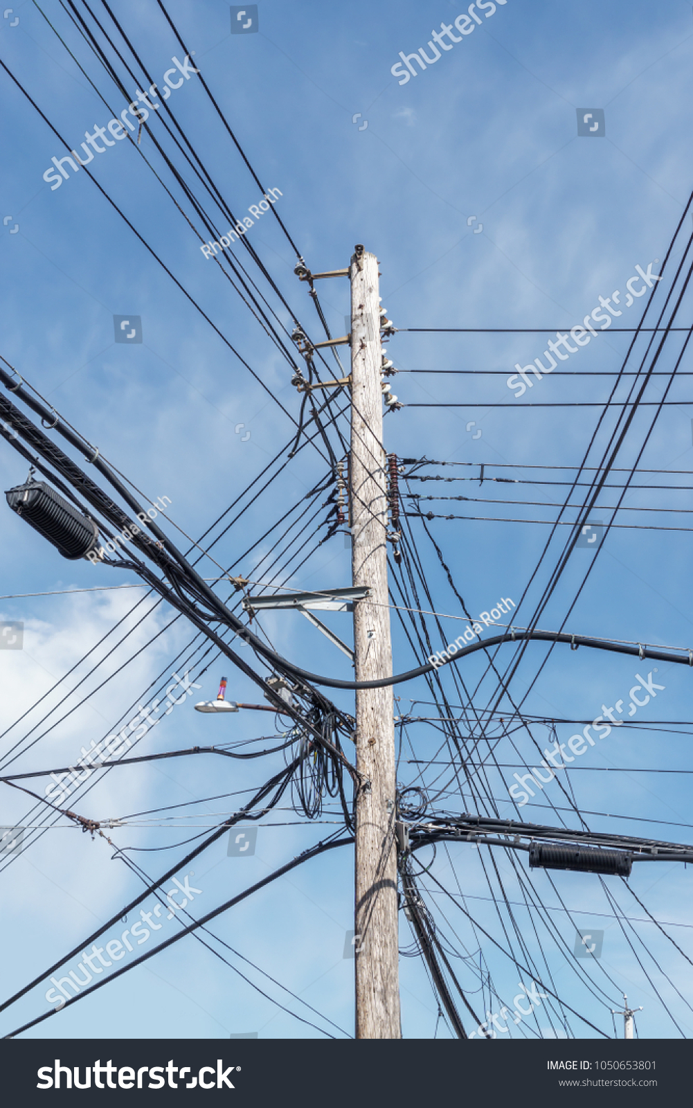 Tall Wooden Power Pole Lots Overhead Stock Photo (Download Now ...