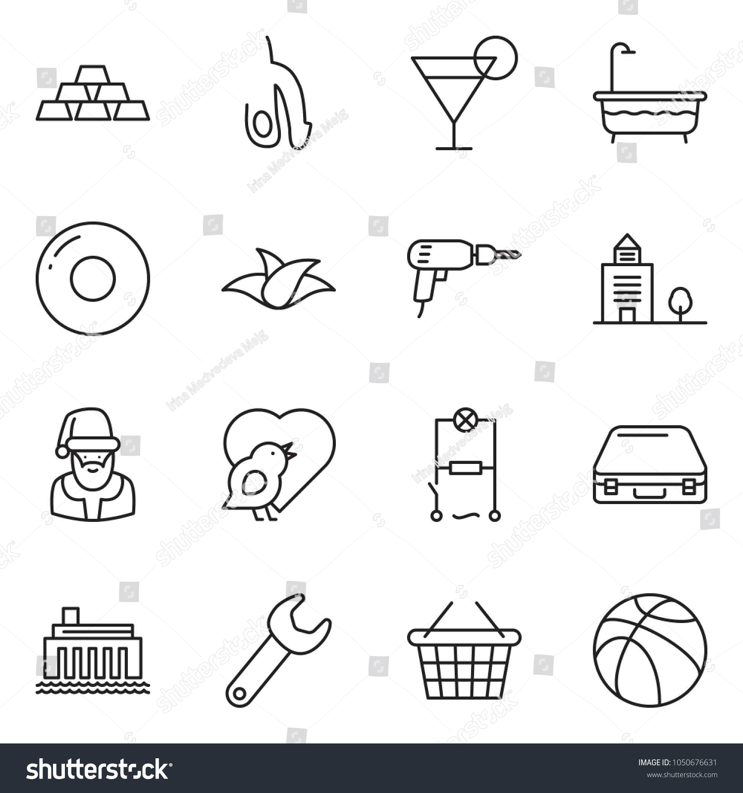 Thin Line Icon Set Basket Vector Stock Royalty Free Hydroelectric Power Plant Schematic Diagram Gold Case Office Building Drill