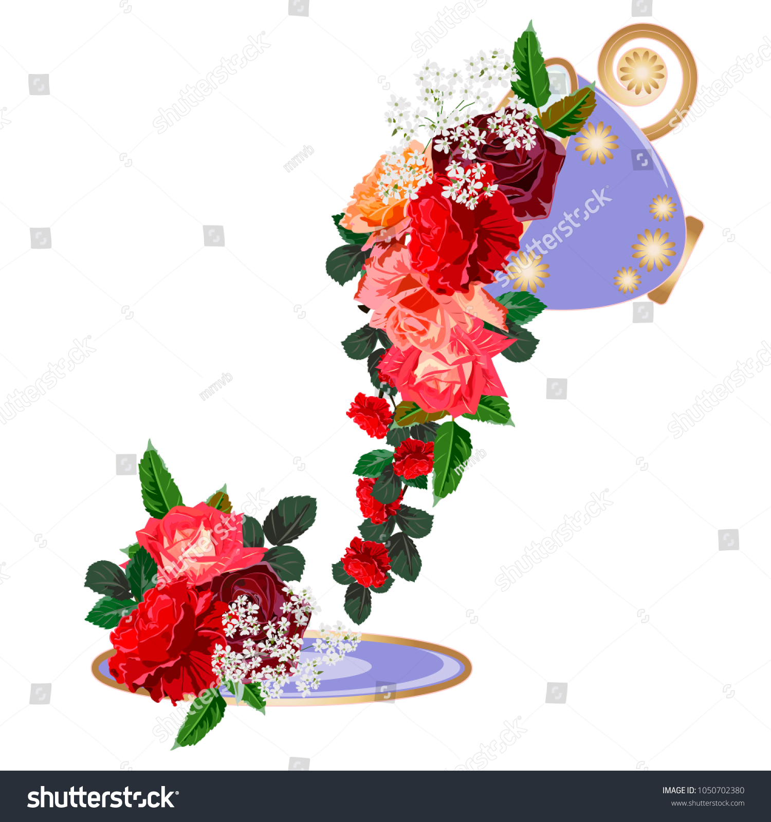 Bouquet Red Roses Purple Cup Decor Stock Vector HD (Royalty Free ...