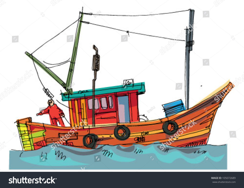 Fishing Boat Cartoon Fishboat Cartoo...