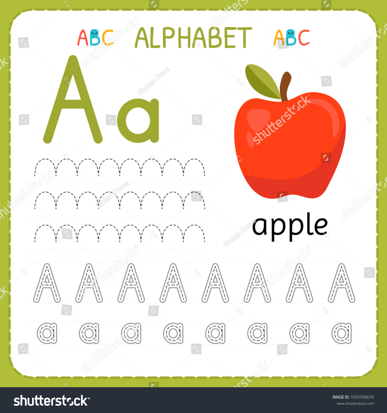 Alphabet Tracing Worksheet Preschool Kindergarten Writing Stock