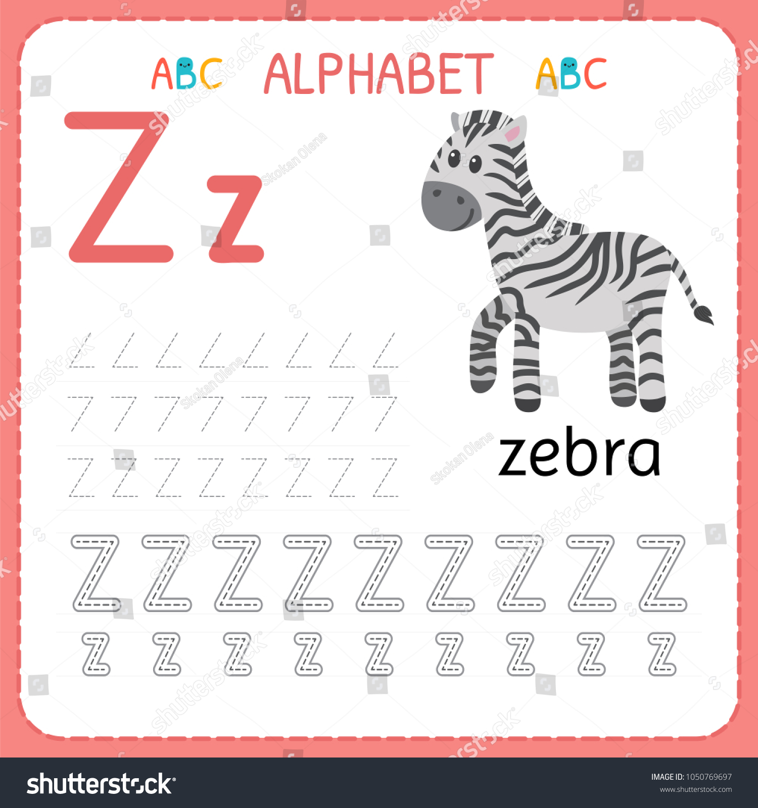Alphabet Tracing Worksheet Preschool Kindergarten Writing Stock ...