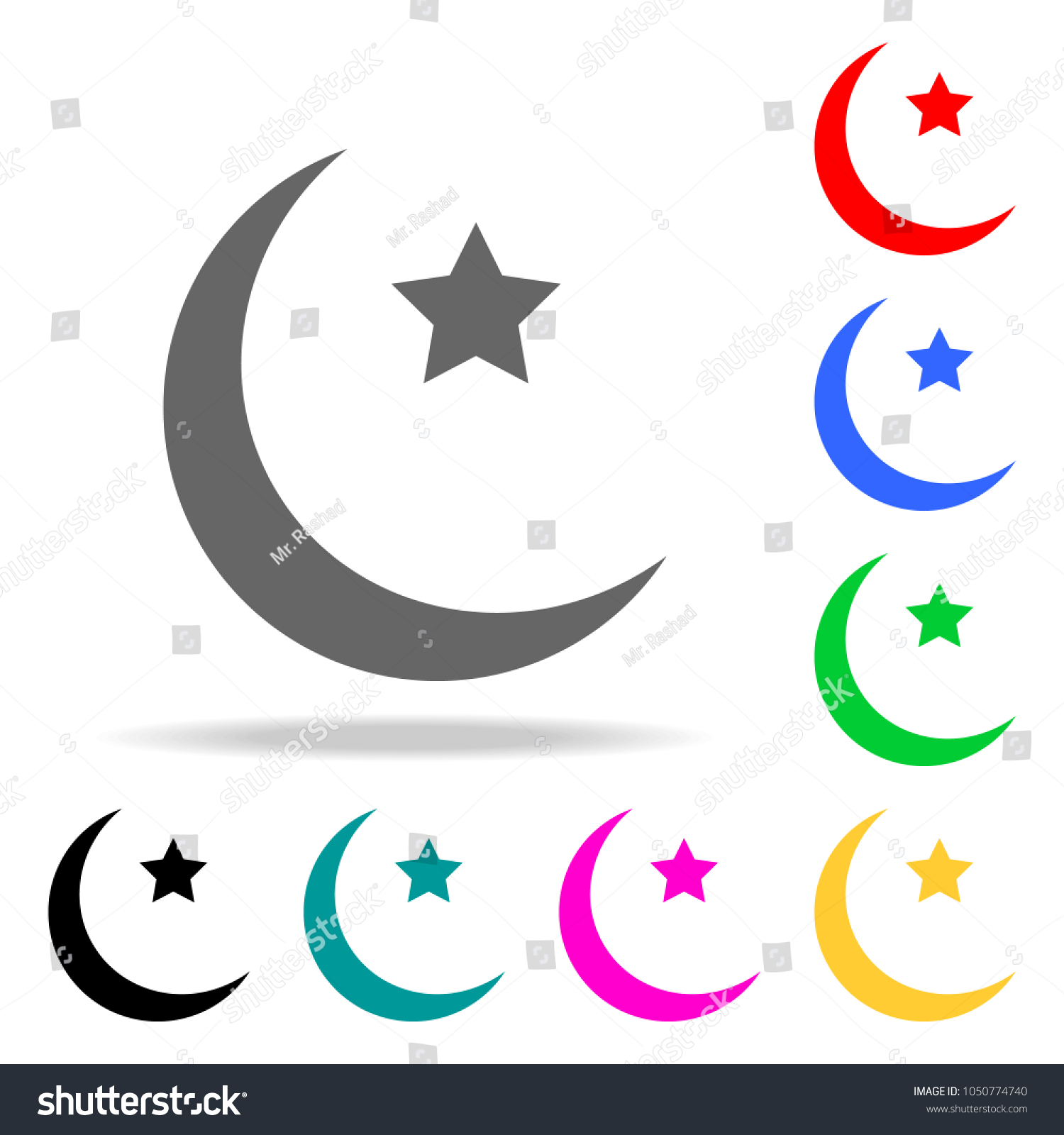 Moon And Star Icon Elements Of Religion Multi Colored Icons Premium Quality Graphic Design