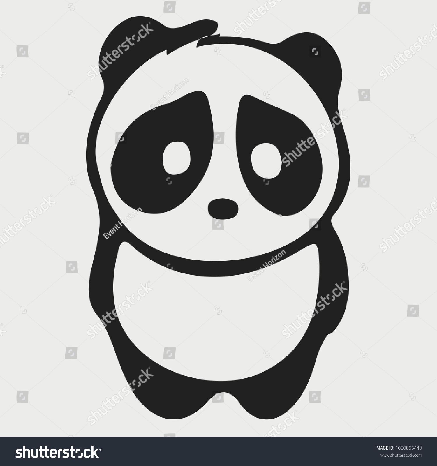 sad panda icon emoticon emoji symbol のベクター画像素材