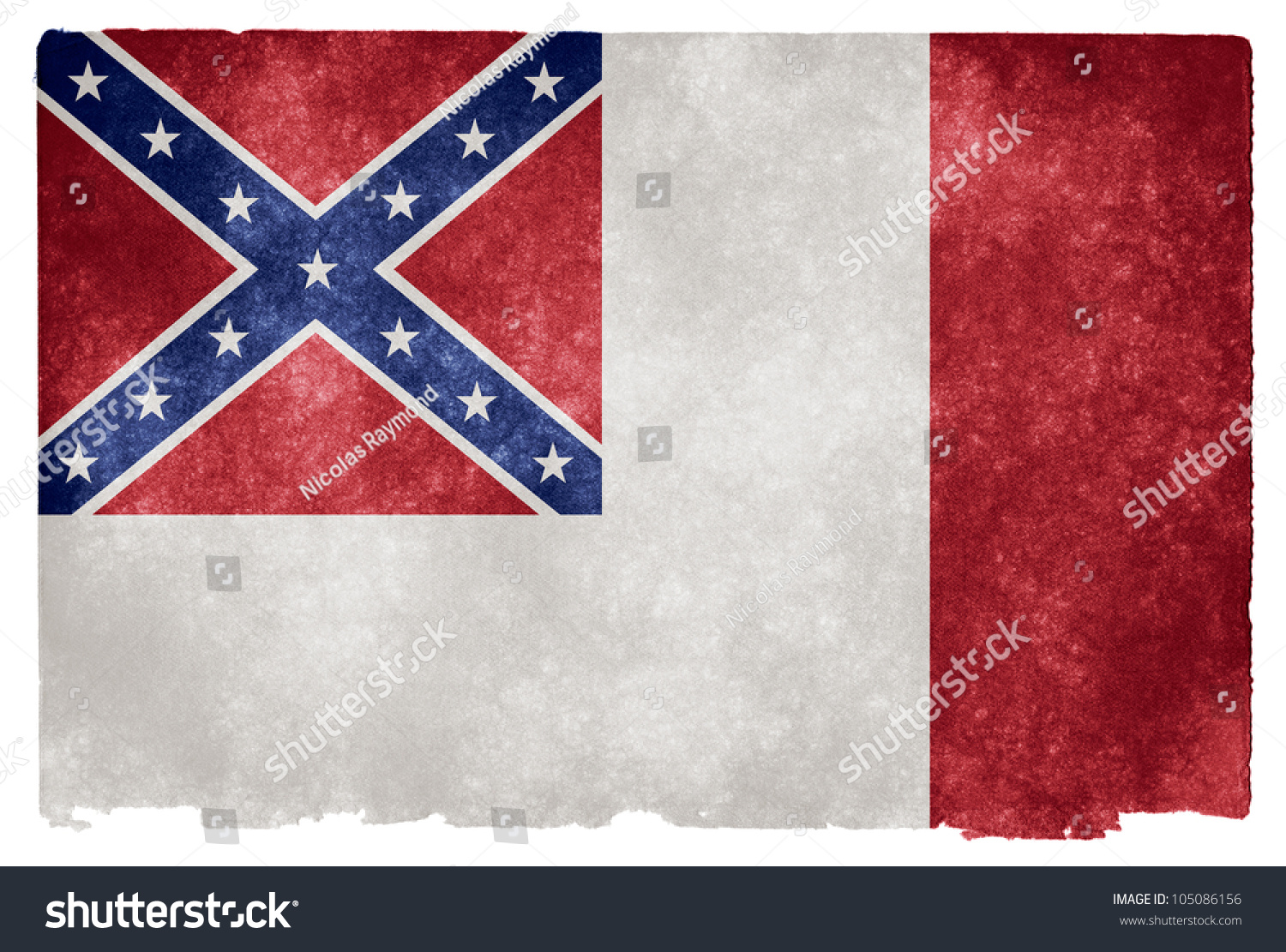 grunge textured historical confederate flag on stock illustration