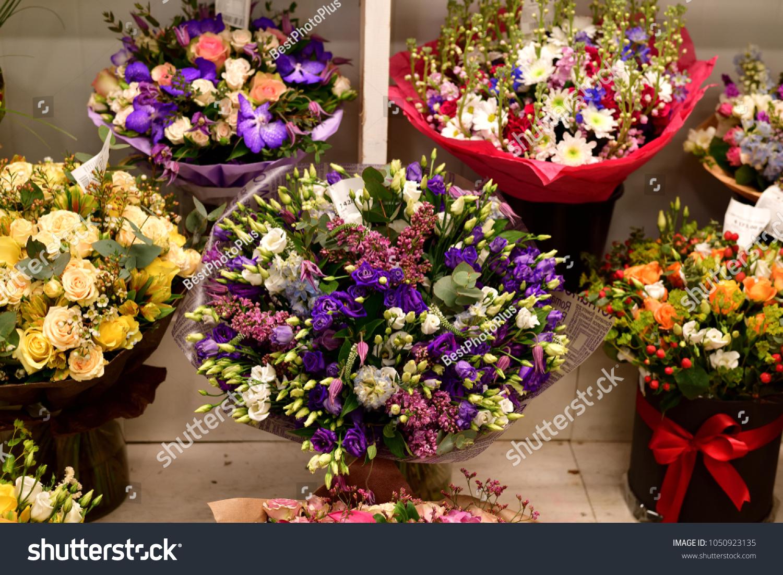 Beautiful Bouquets Flowers Shop Window Stock Photo 1050923135 ...