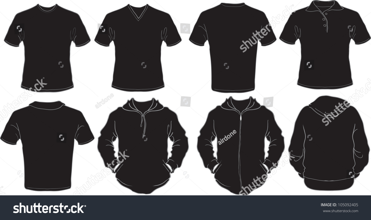 Black t shirt vector template - Vector Set Of Male Shirts Template In Black Check Out My Portfolio For Different T