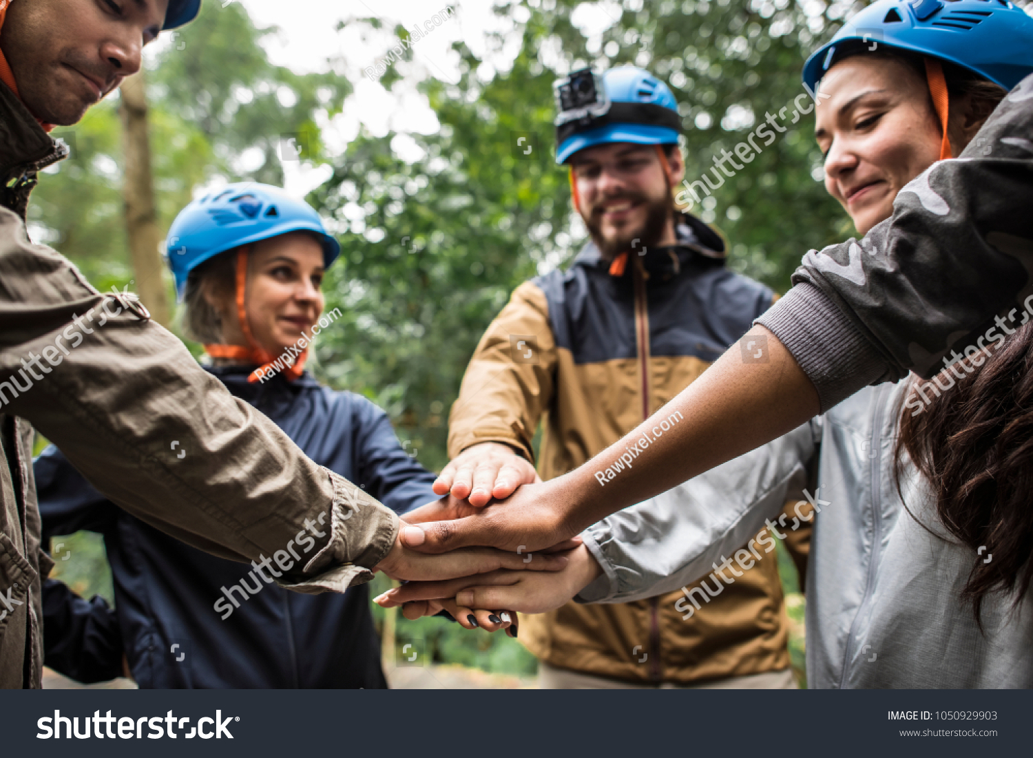 Team building outdoor in the forest #1050929903