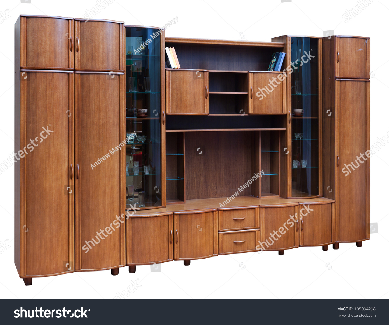 Wooden Cupboard With Glass Doors Isolated On White Stock Photo