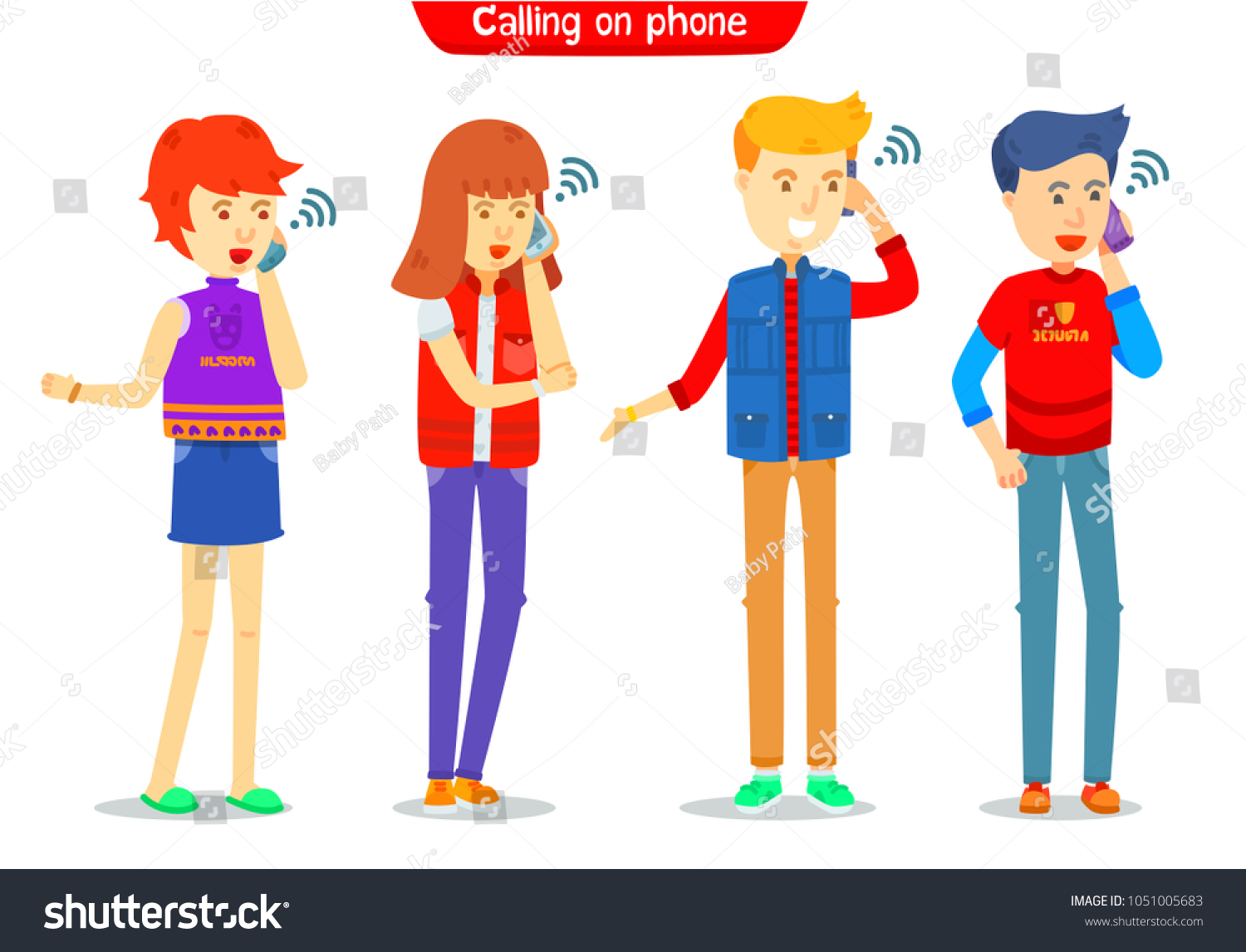 Set Guy Girl Character Calling On Stock Vector Royalty Free