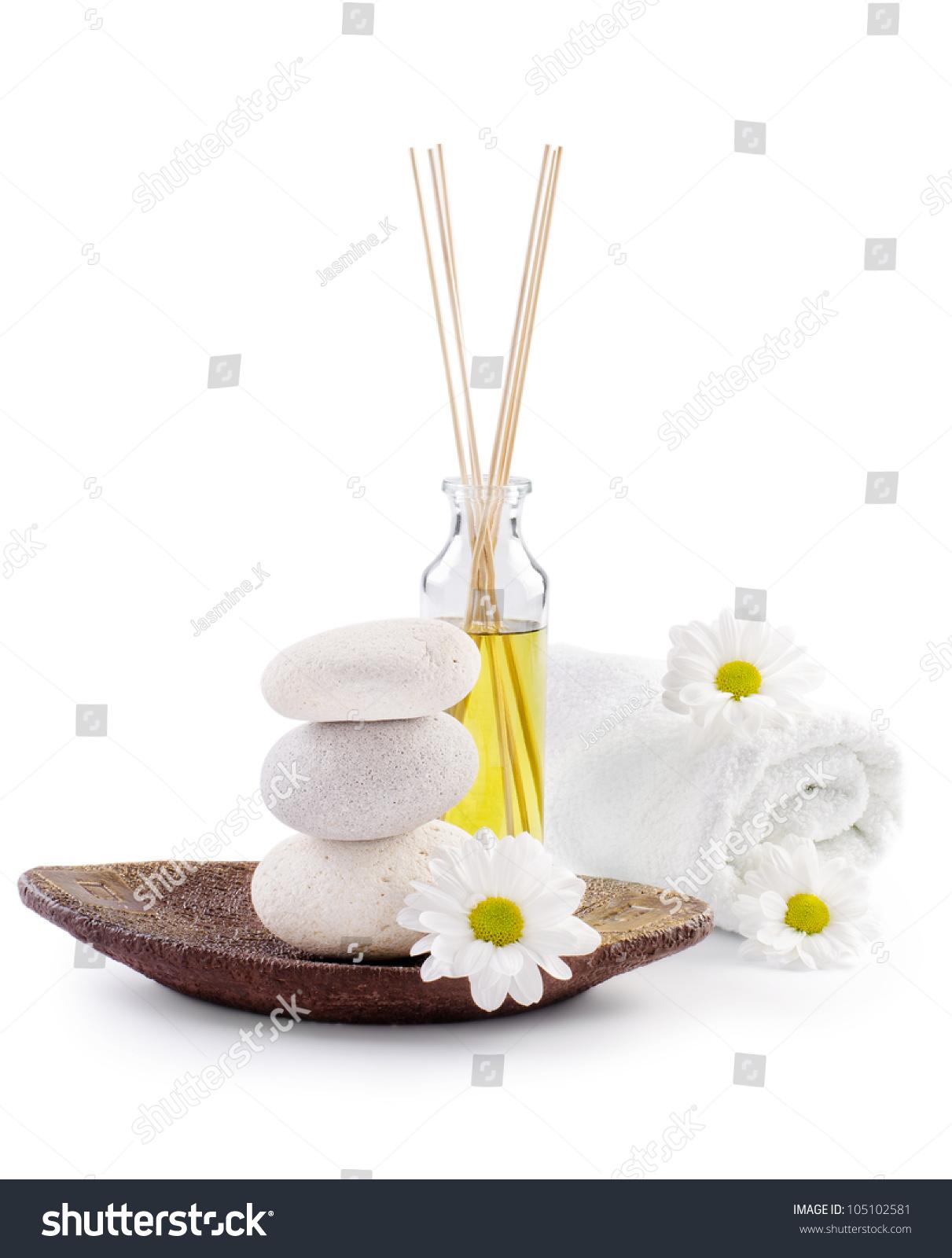spa decoration white chrysanthemum flowers spa lagerfoto 105102581