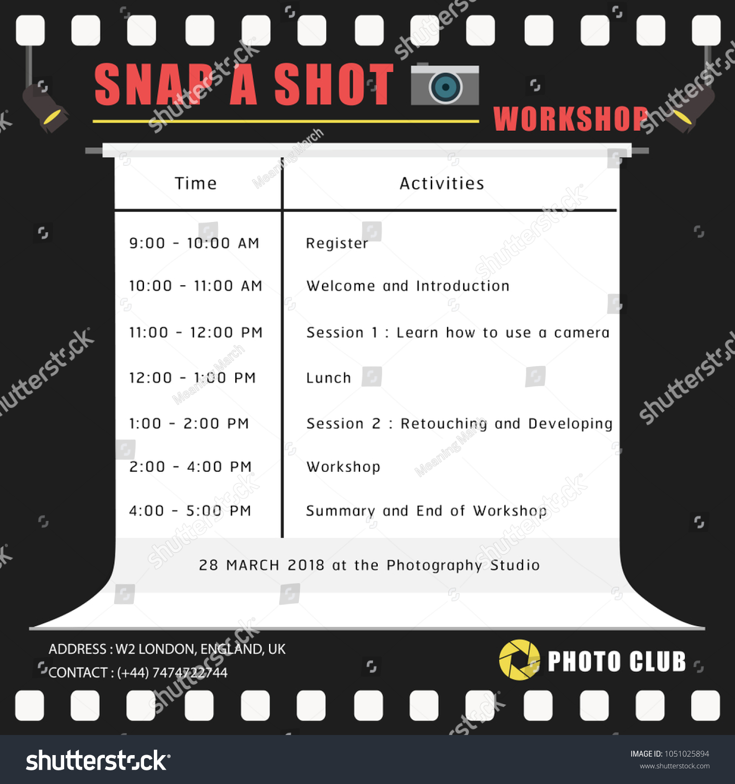 Sample Timetable Schedule Template About Photography Stock Vector ...