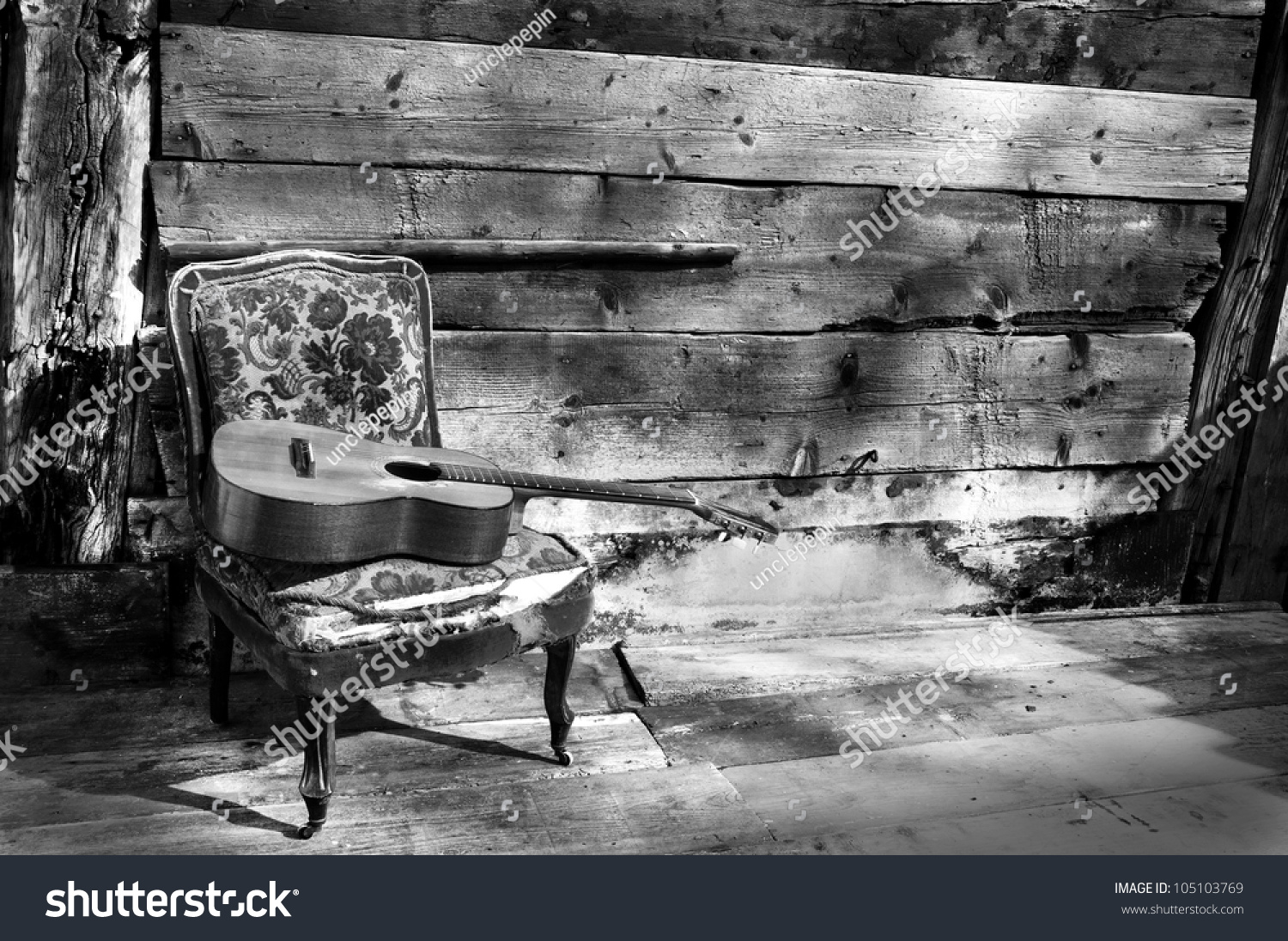 Black and white chair photography - Blues Guitar On A Old Chair With Wooden Background Horizontal Black And White