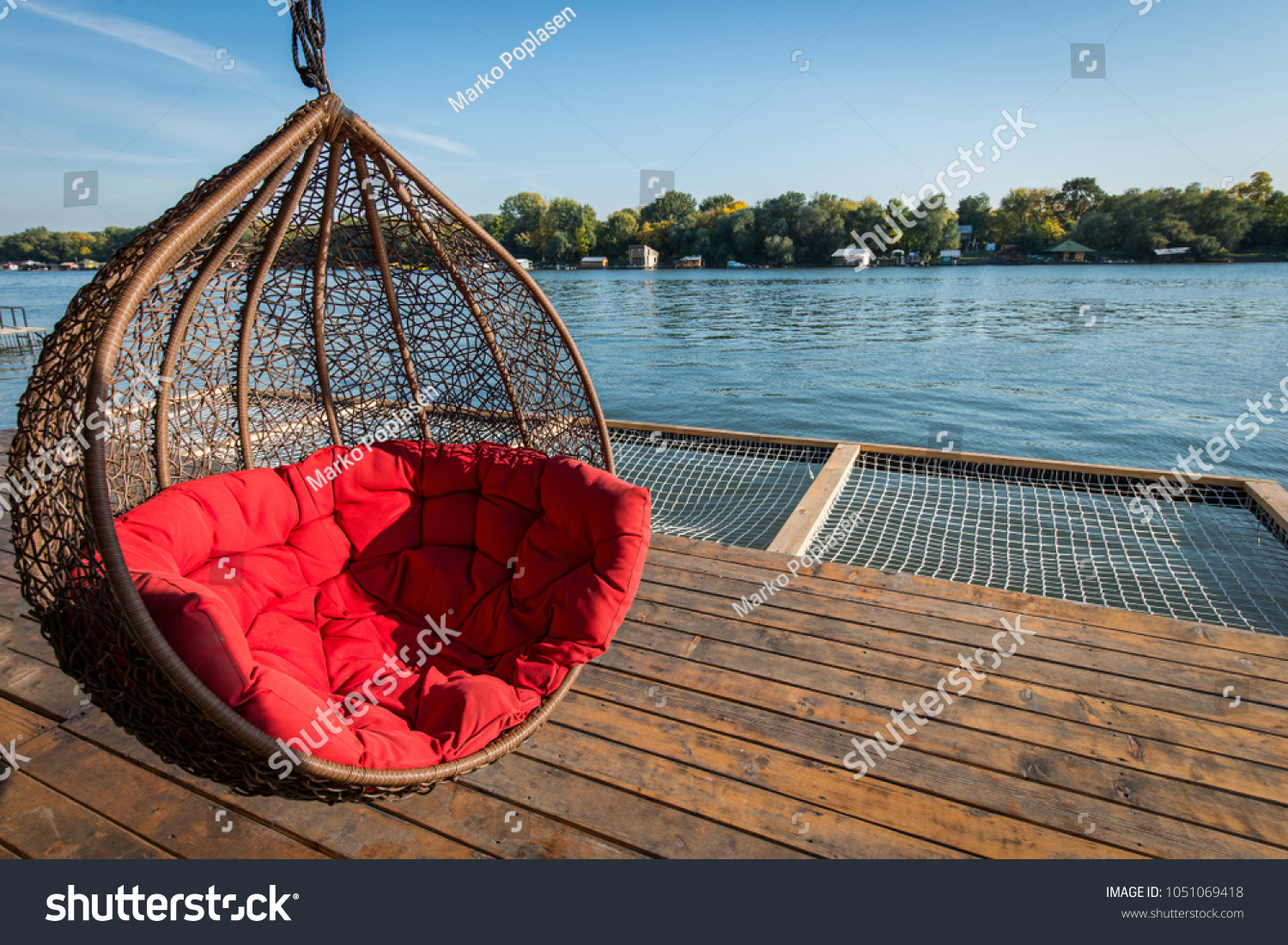 Hammock Hanging Chair Big Red Pillow Stock Photo Edit Now 1051069418