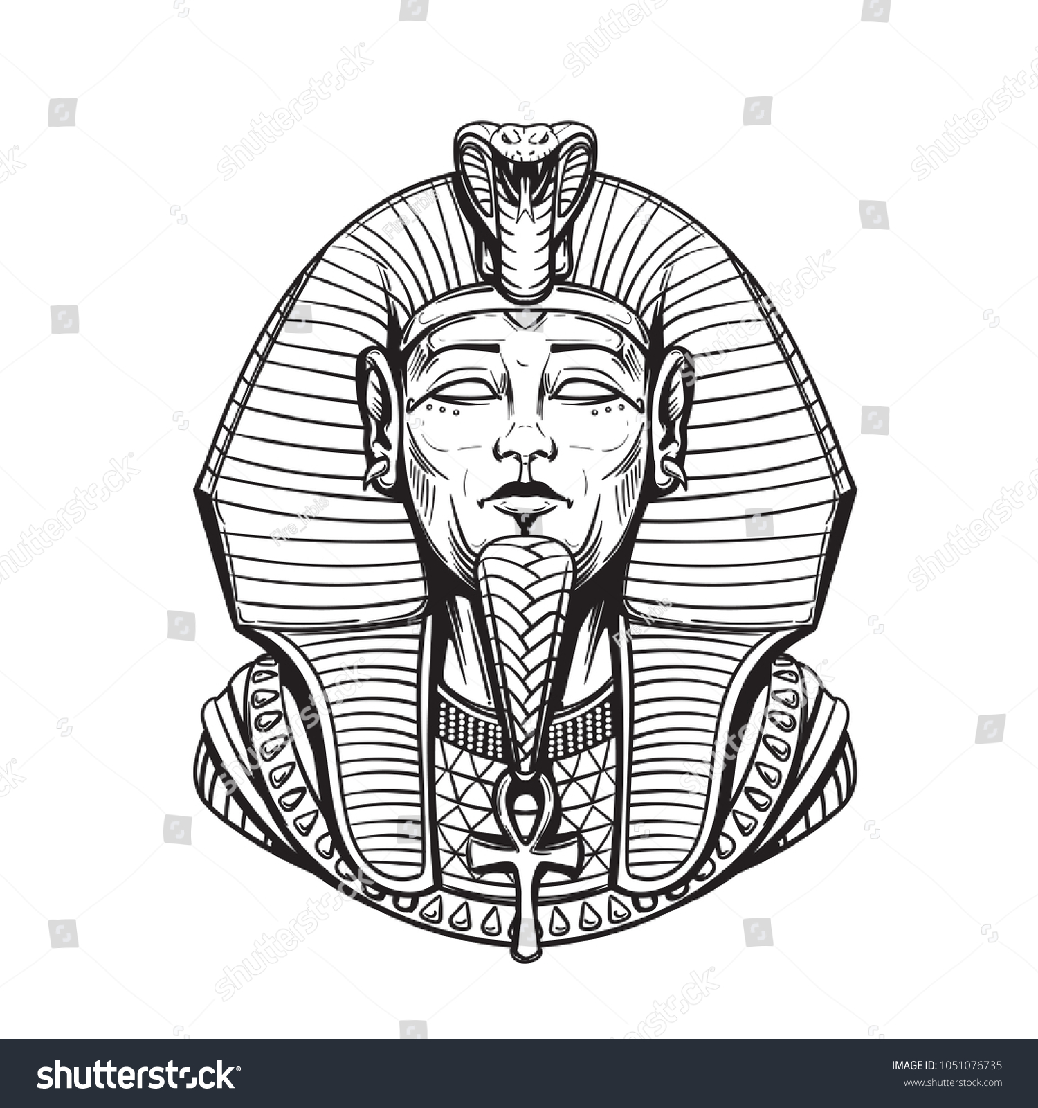 Sarcophagus Egyptian Pharaoh Adult Coloring Page Stock Illustration ...