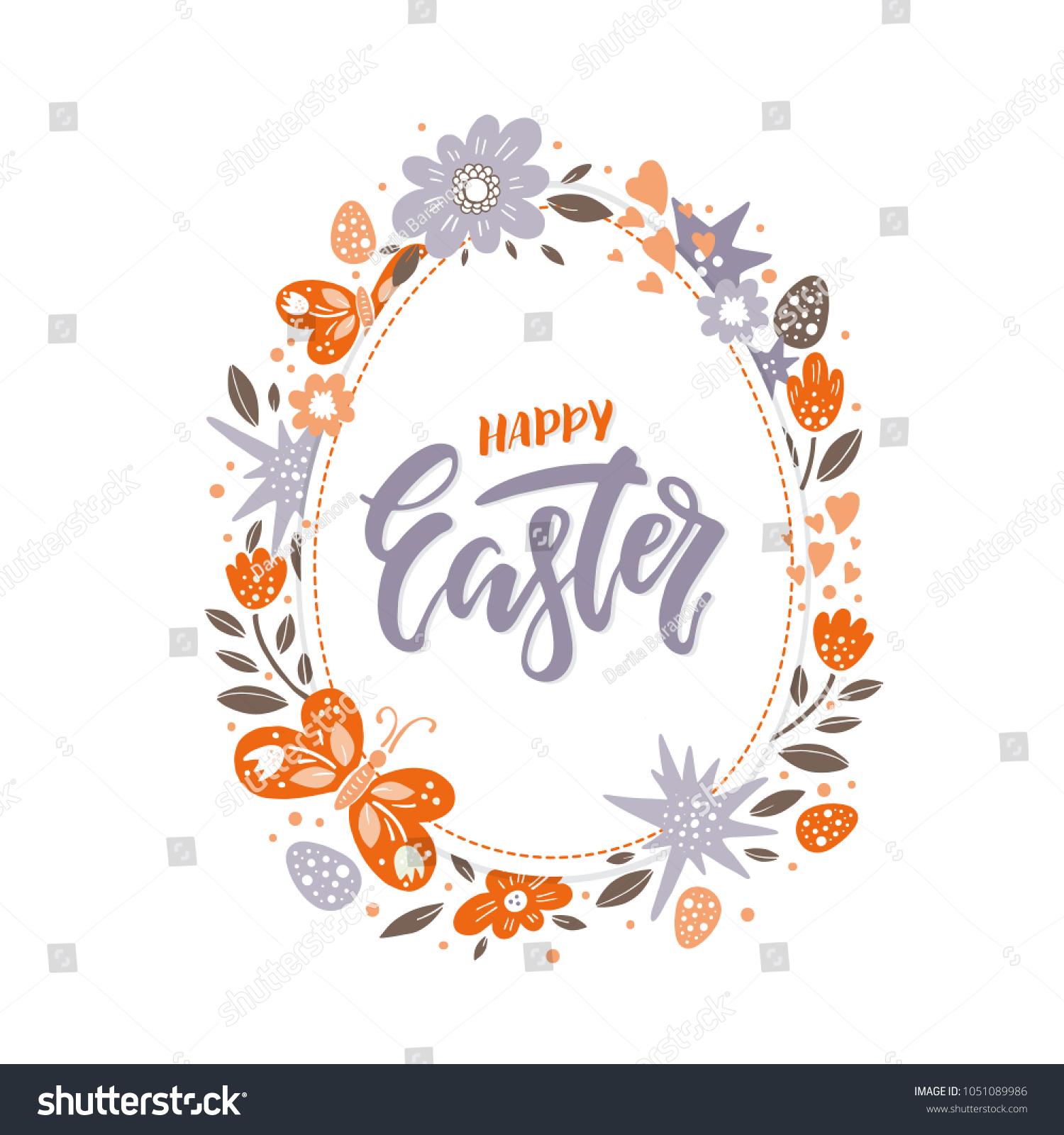 Vector Easter Greeting Card Egg Flowers Stock Vector 2018