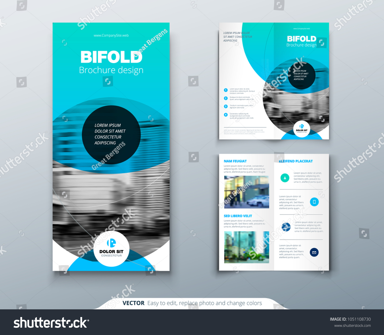 bi fold brochure design blue business stock vector royalty free