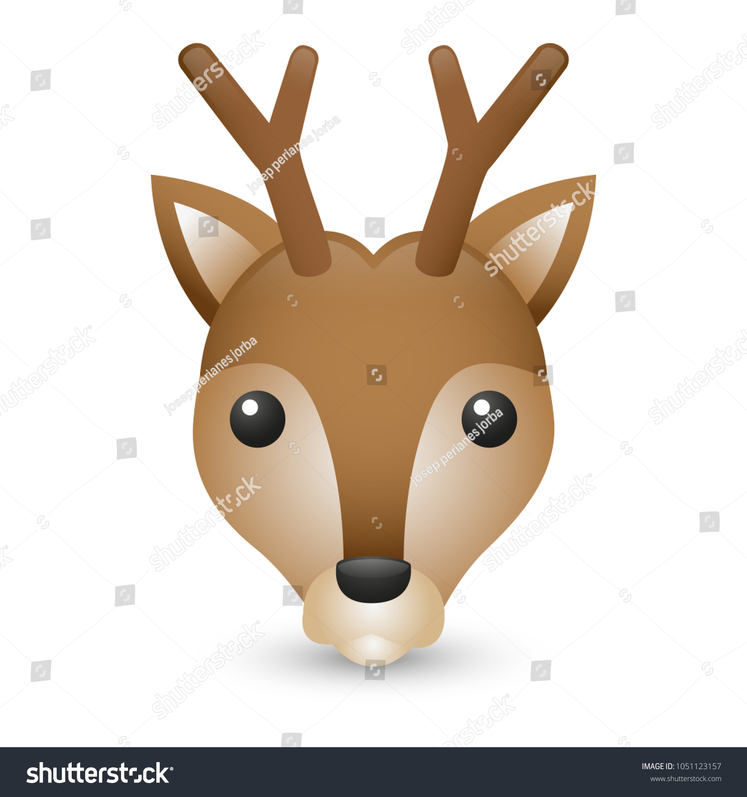 Deer Forest Mountain Animals Emoji Illustration Stock Vector