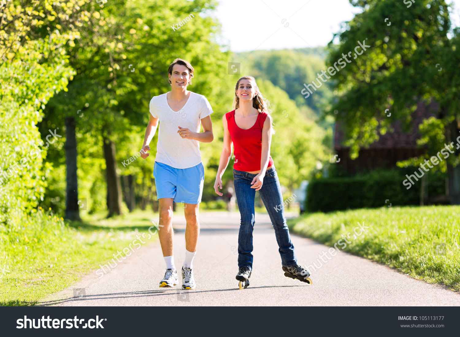 Young Couple Man Woman Doing Sports Stock Photo 105113177 ...
