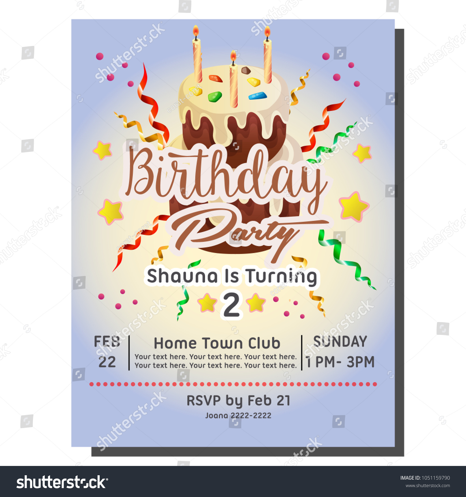 2nd Birthday Party Invitation Card Cake Stock Vector 1051159790 ...