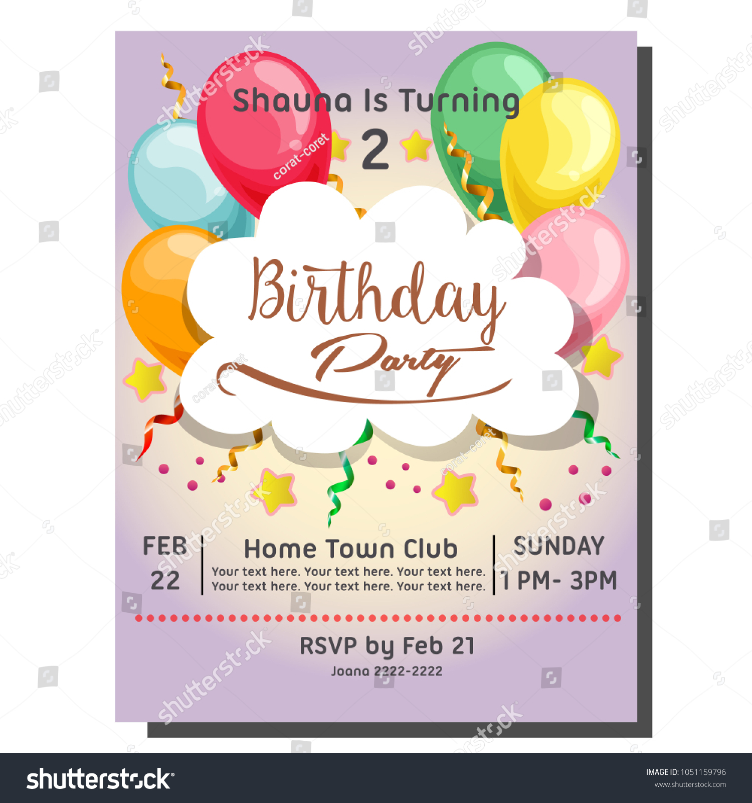 2nd Birthday Party Invitation Card Balloon Stock Vector HD (Royalty ...