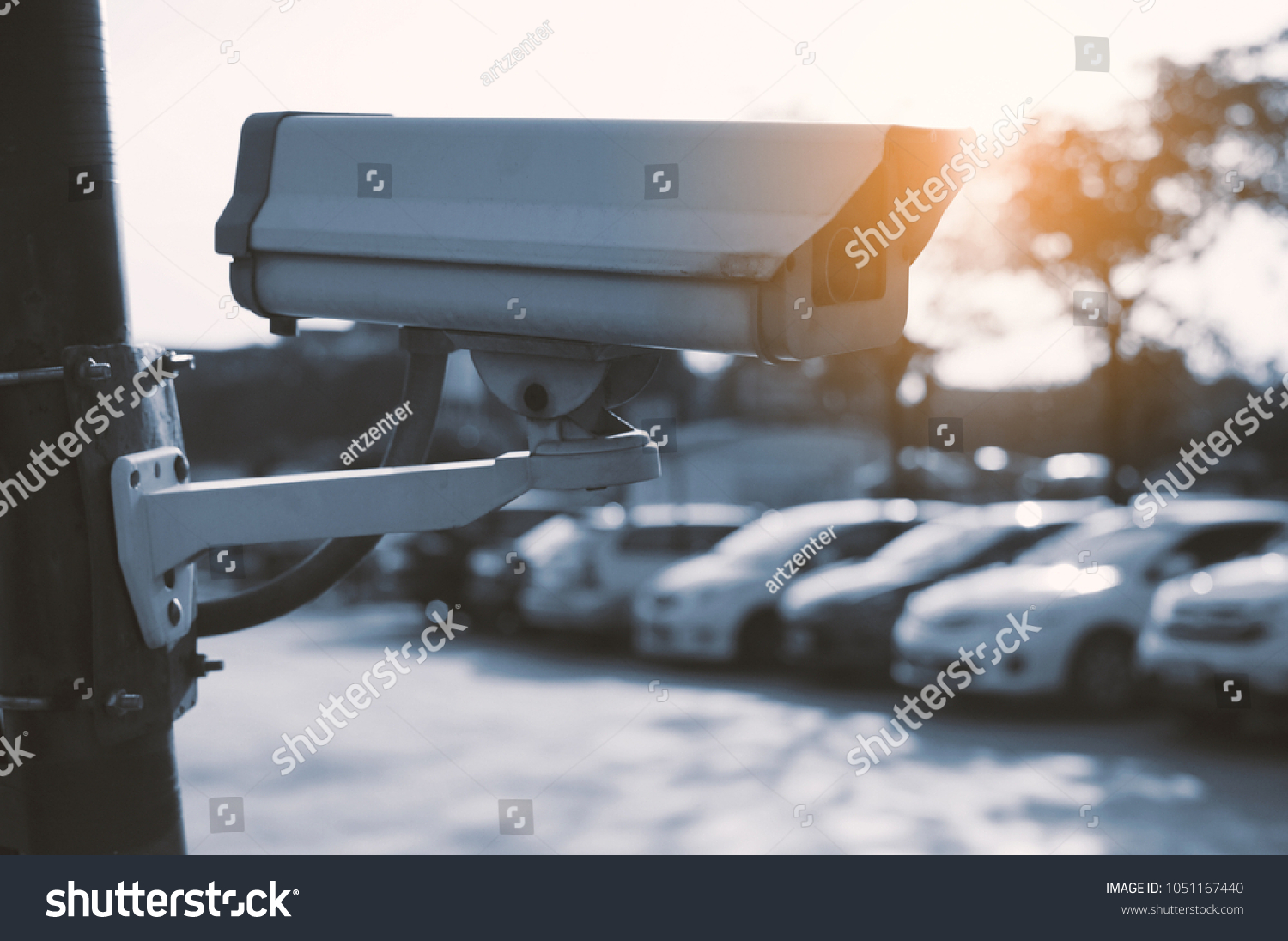 Cctv Security Camera Outdoor Car Park Stock Photo (Edit Now) 1051167440